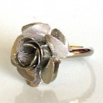 BELLA MEADOW ROSE RING Silver Flower ~ B Twilight Card
