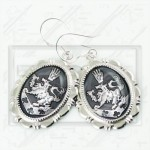 Cullen Family Crest Twilight Rosalie Alice 925 Earrings grey